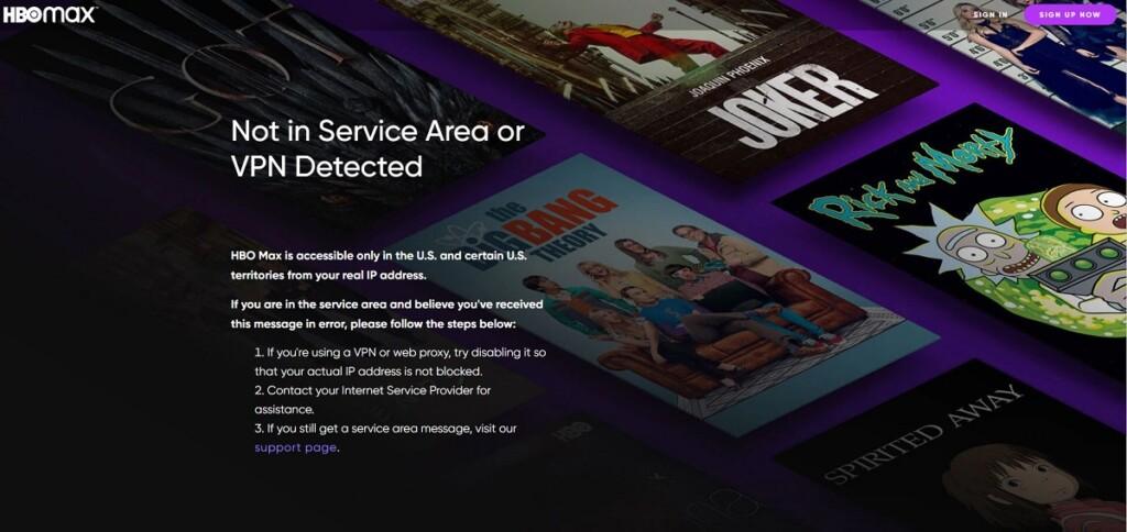 Geo-blocking error on HBO Max
