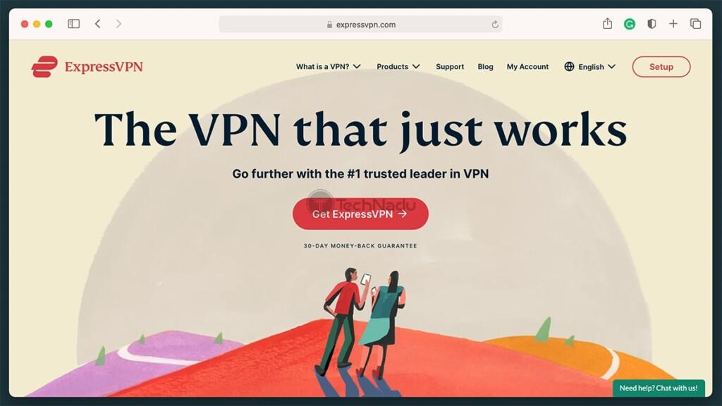 Home Page of ExpressVPN Website