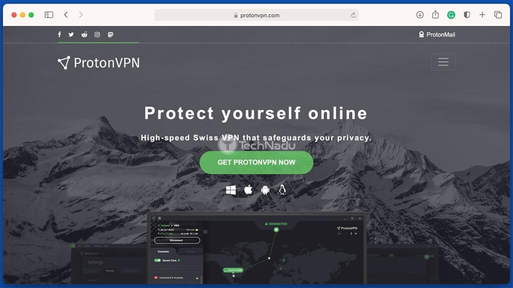 Homepage of ProtonVPN Website