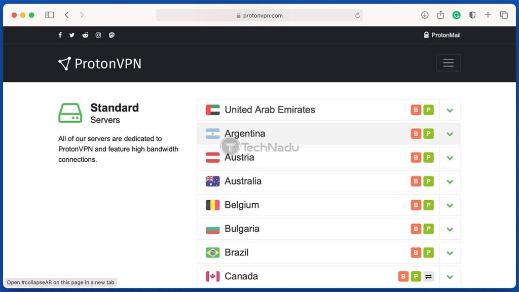List of ProtonVPN Servers