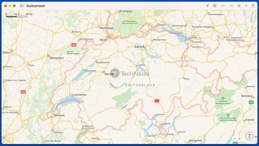 Map on Switzerland in Apple Maps