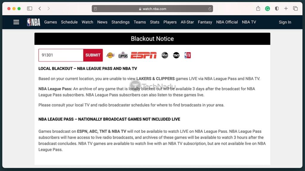 NBA Blackout Notice on NBAs Official Website