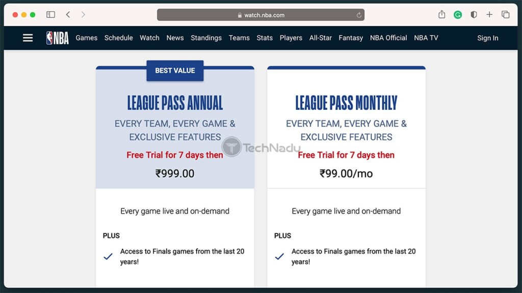 Price of NBA League Pass International in India