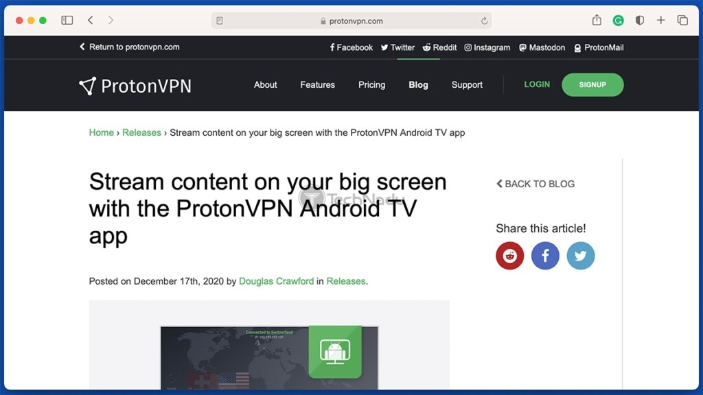 ProtonVPN Blog Post About Android TV App