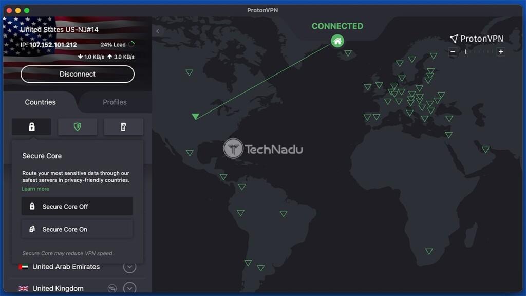 ProtonVPN Interface Showing Secure Core Servers Prompt