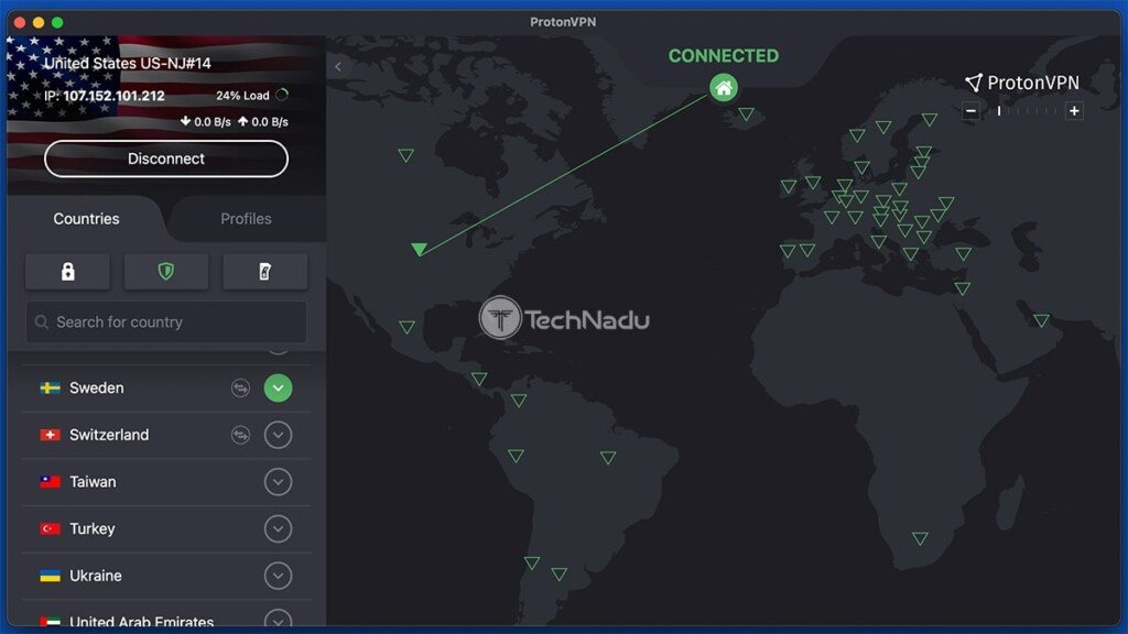 ProtonVPN Interface While Connected to VPN Server