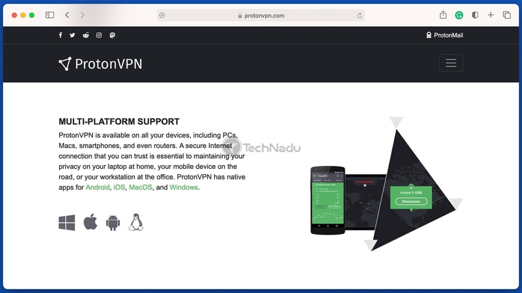 ProtonVPN Promo Message About Support Apps