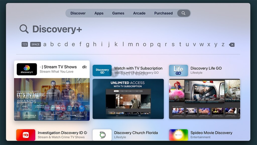 Searching tvOS App Store for Discovery Plus
