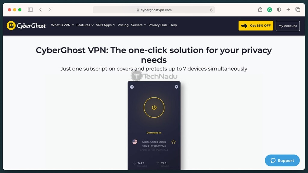 Snippet of CyberGhost VPN Website