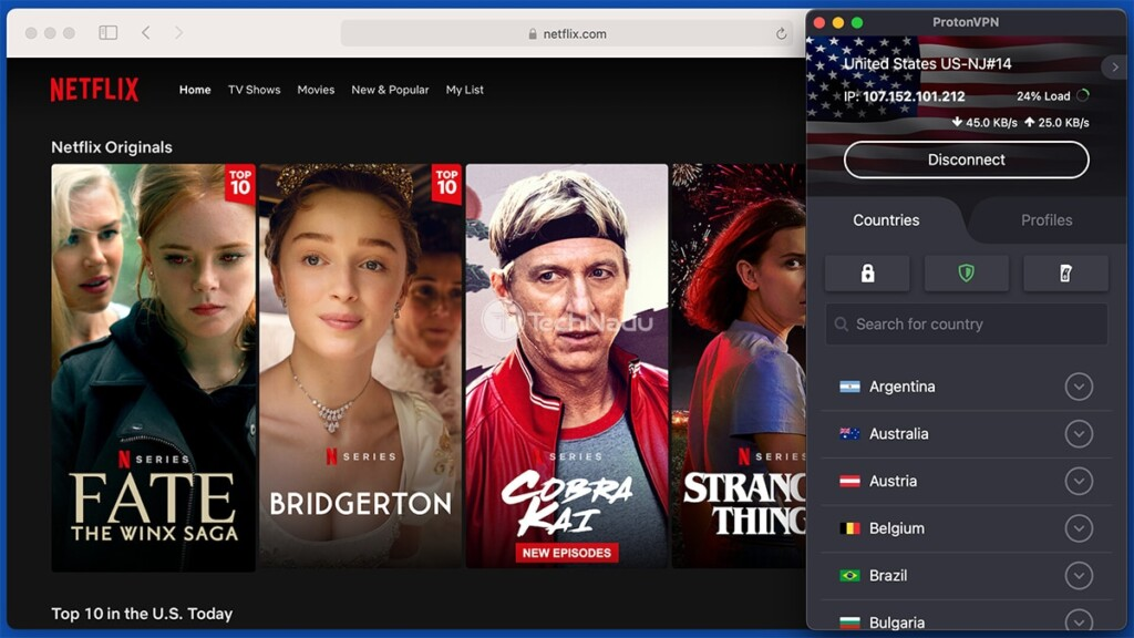 Streaming Netflix via ProtonVPN