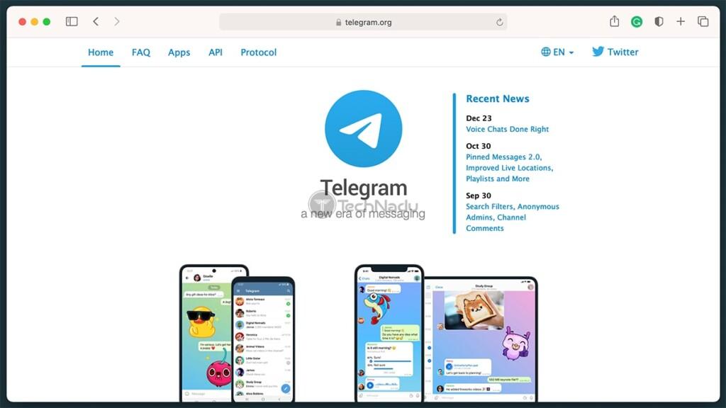 Telegram Messenger Homepage
