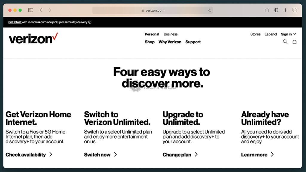 Verizon Discovery Plus Promotion