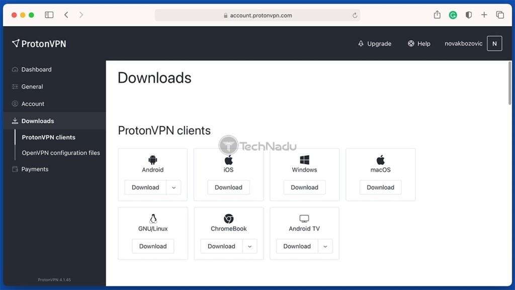 Web Dashboard of ProtonVPN