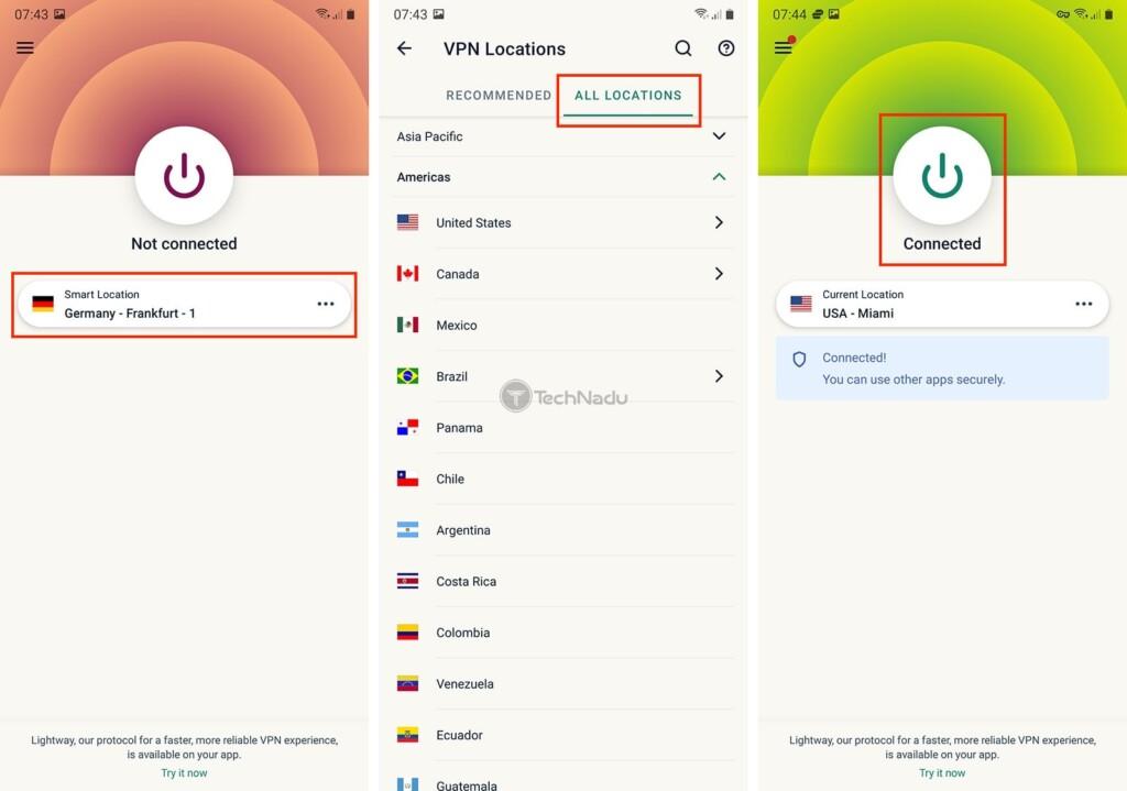 Changing VPN Server in Android ExpressVPN