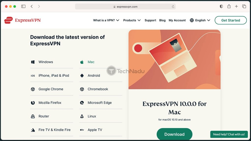 ExpressVPN Website Listing Latest Available Versions