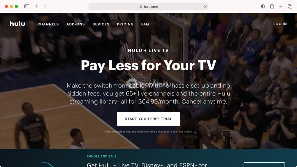 Hulu Live TV Homepage