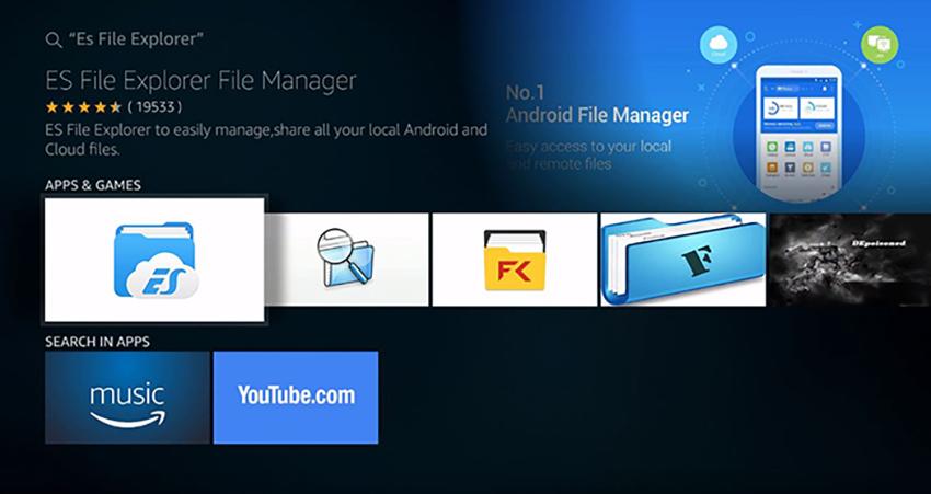 Installing ES File Explorer on Fire TV Stick