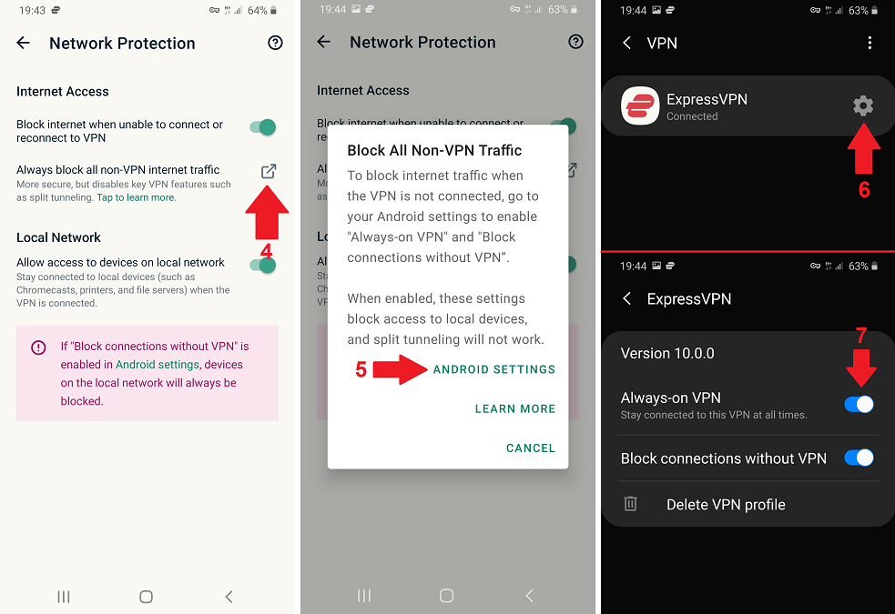 enable always-on VPN from the app settings