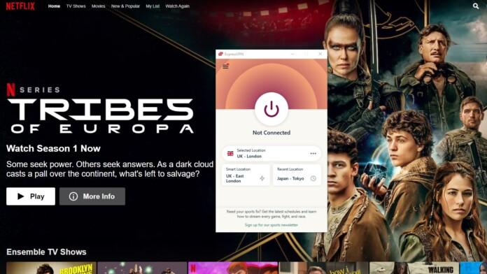 Netflix homepage ExpressVPN client
