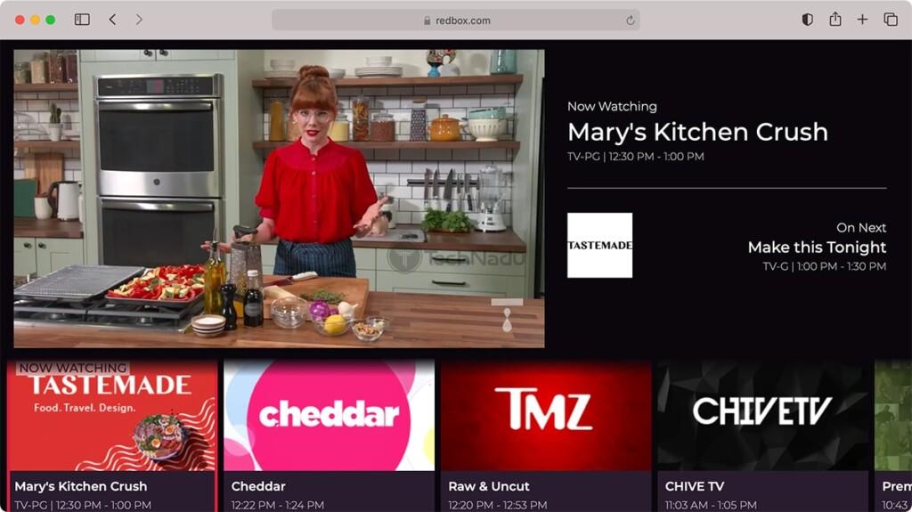 Redbox Live TV Homepage