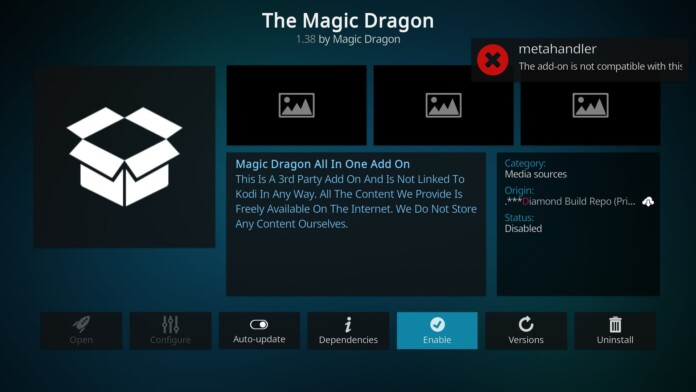 The addon is not compatible with this version of Kodi 19