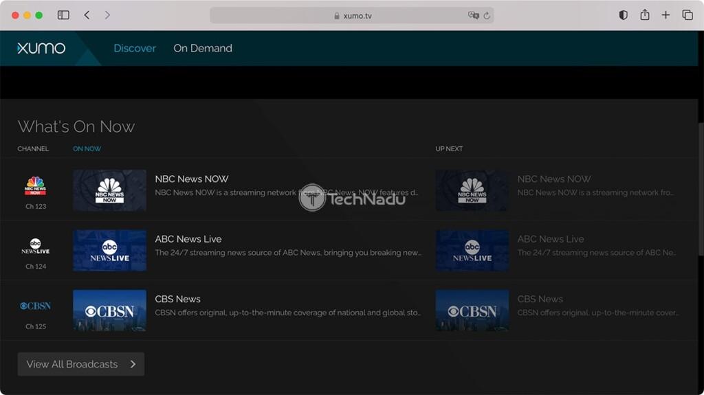 Xumo TV Homepage