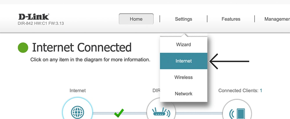 Accessing Internet Settings on D-Link Router Admin