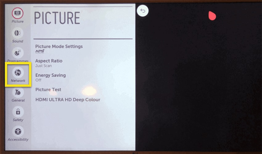 Accessing Network Settings on LG TV