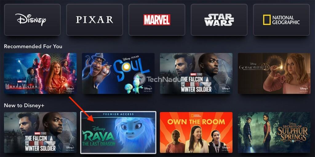 Accessing Premier Title via Disney Plus Website