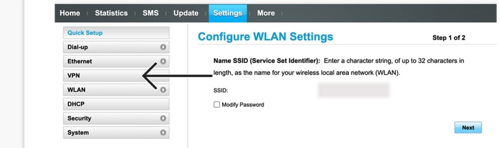 Accessing VPN Settings on Huawei Router