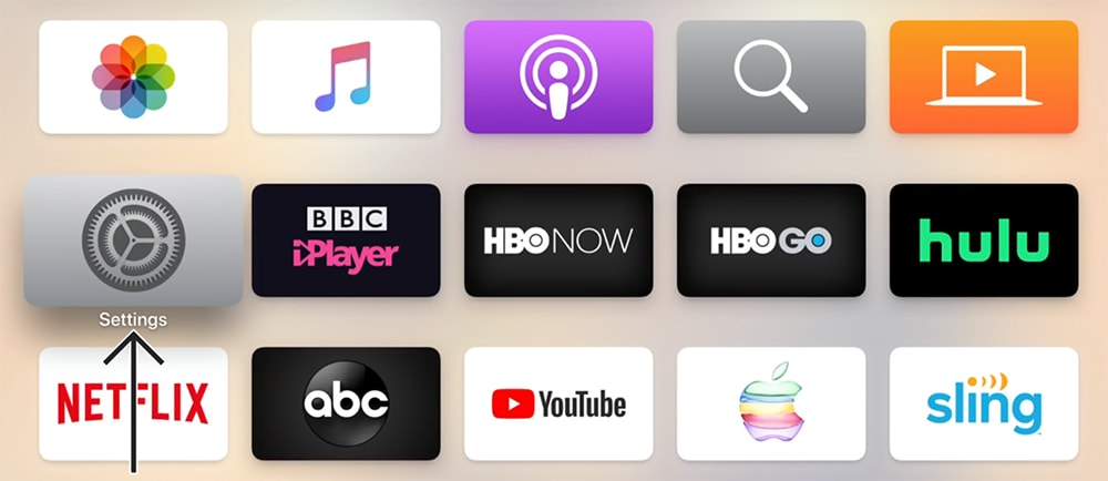 Apple TV Home Screen Appearance with Settings App Highlighted