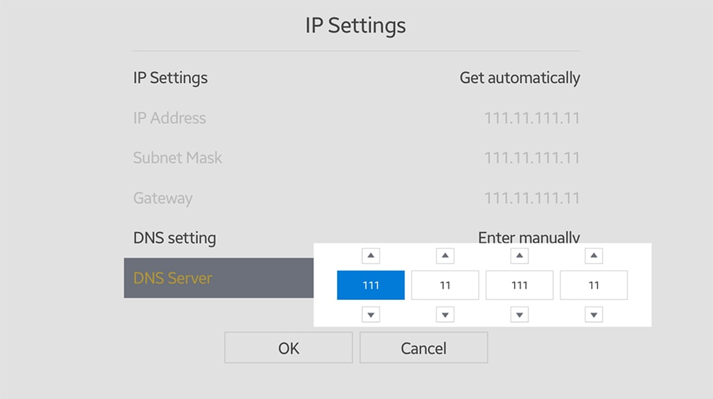 Changing DNS Settings on Samsung TV