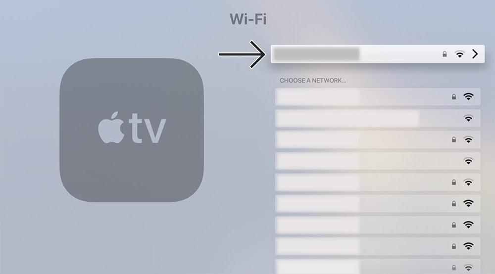 Choosing a Wi-Fi Network on tvOS