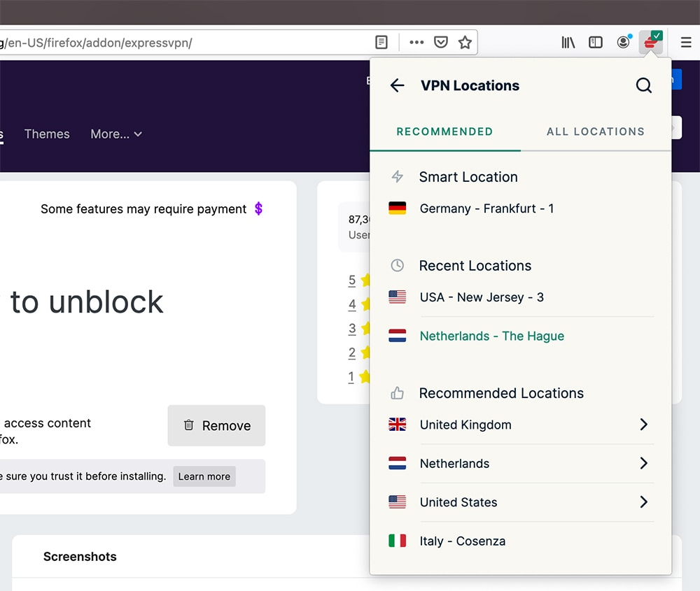 Connecting to a Server Using ExpressVPN for Firefox