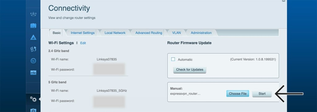 Connectivity Segment on Linksys Router Admin for Uploading Firmware