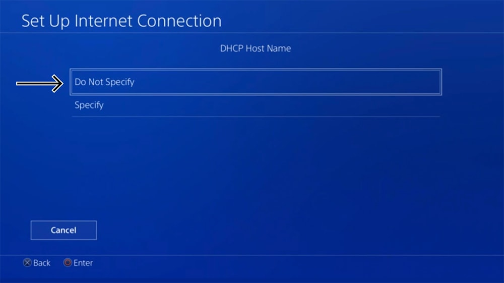 DHCP Settings on PlayStation