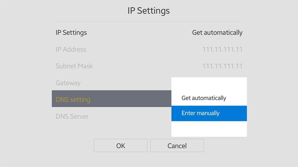 DNS Settings on Samsung TV