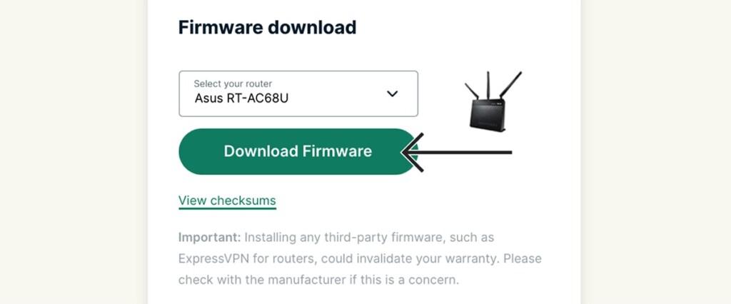 Downloading Asus Firmware from ExpressVPN Website