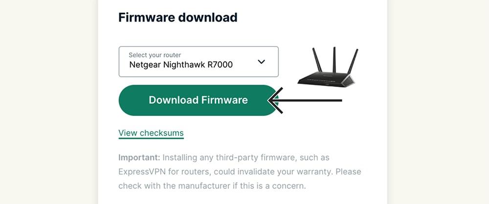 Downloading ExpressVPN Firmware for Netgear
