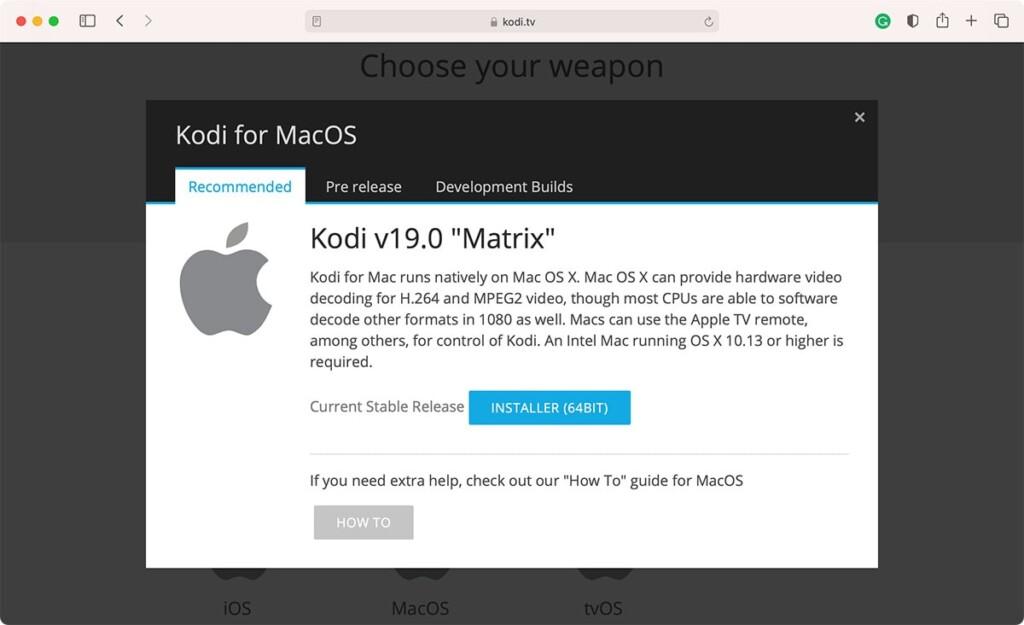 Downloading Kodi 19 Matrix for Mac via Safari