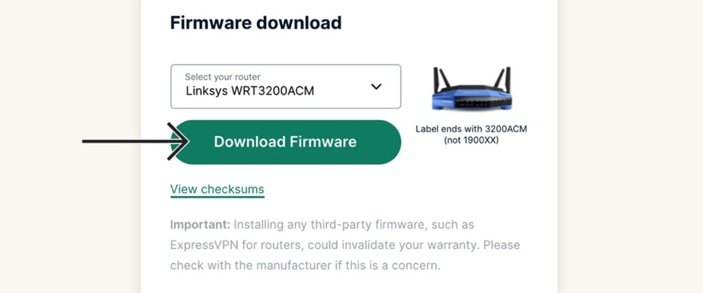 Downloading Liksys Firmware from ExpressVPN