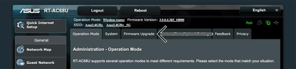 Firmware Upgrade Settings on Asus Admin Panel