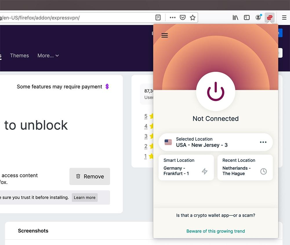 Homescreen of ExpressVPN for Firefox