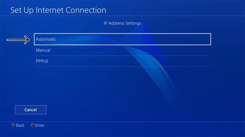 IP Address Settings on PlayStation
