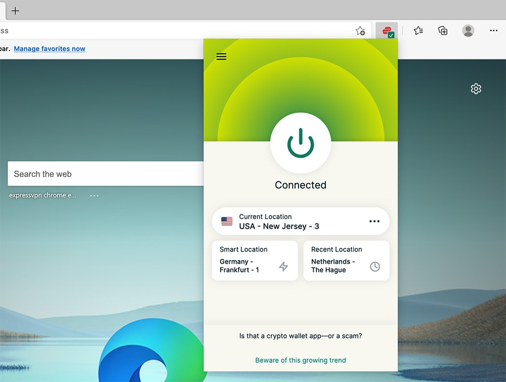 Interface Showing ExpressVPN Connection in Microsoft Edge