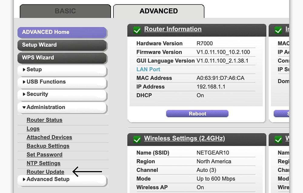 Interface of Netgear Router Admin Panel