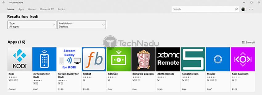 Kodi Among Search Results Windows 10 App Store