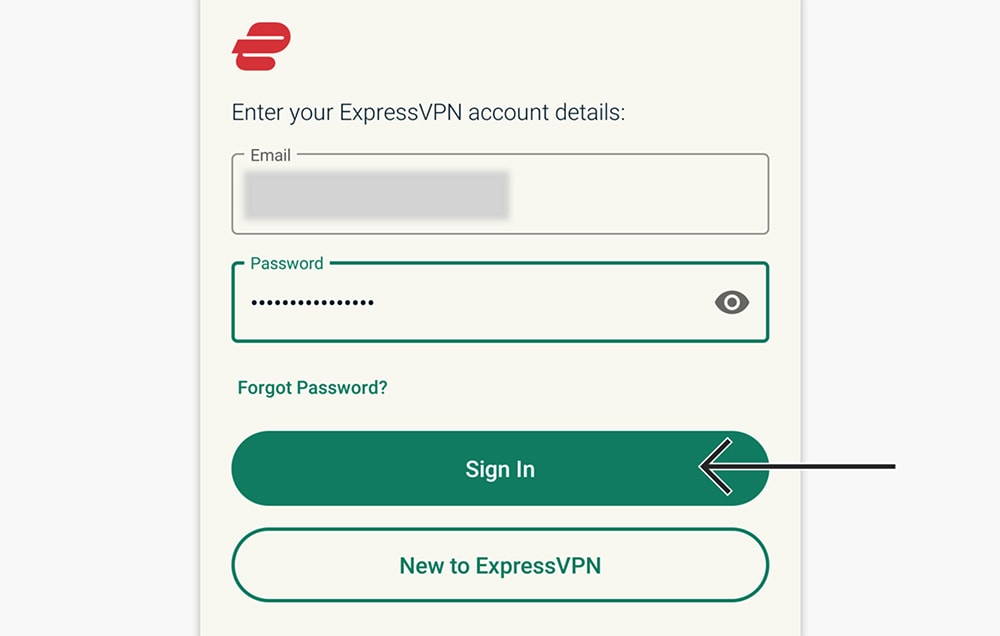 Loging in to ExpressVPN on a Mobile Device