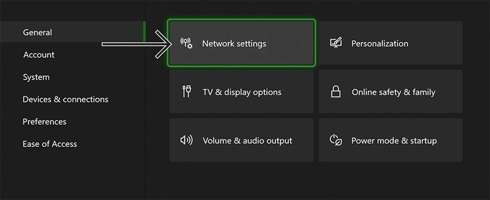 Network Settings Locations in Xbox Settings App