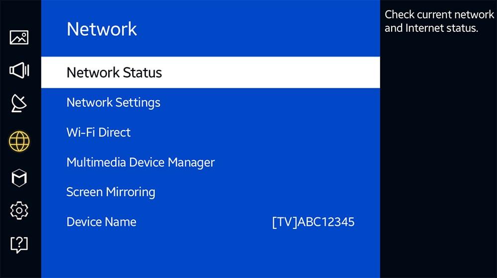 Network Status Settings on Samsung TV
